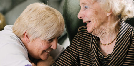Audrey bonds with a Helping Hands care assistant